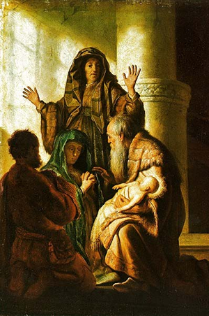 Simeon in the Temple - Rembrandt
